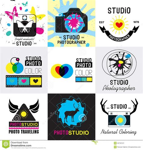 design studio logo vector templates set of vintage photo studio logo labels badges and
