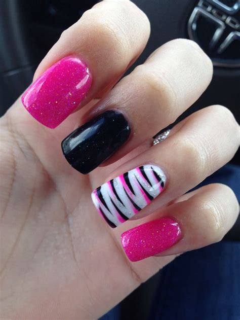 Black And Pink Zebra Nail Designs