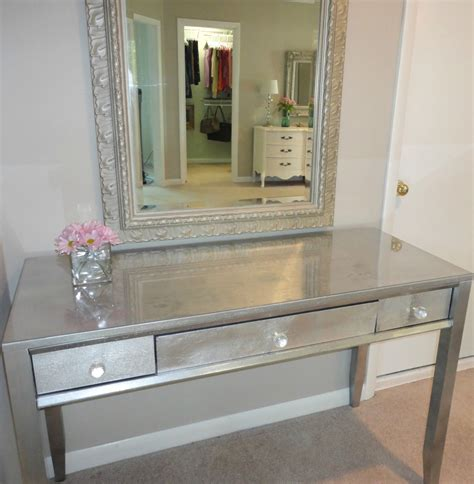 Silver Vanity Table Livelovediy Diy Thrift Store Desk Makeover Using Silver Leaf