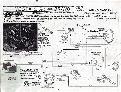 re the missing vespa bravo ciao wiring diagram