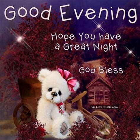 Good Evening Hope You Have A Great Night *** Bless
