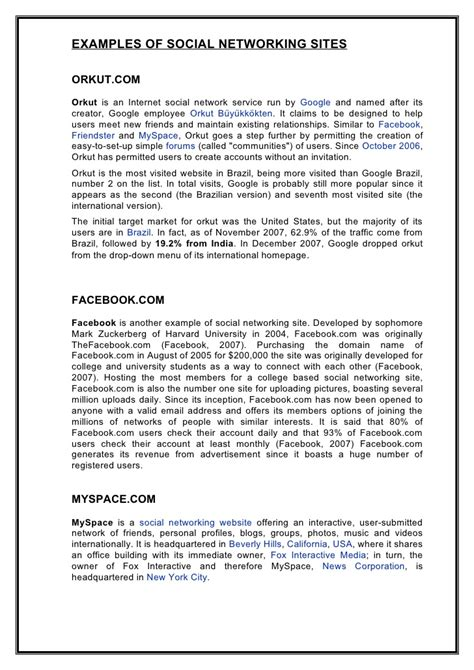 thesis about social media sites the effect of social networking sites