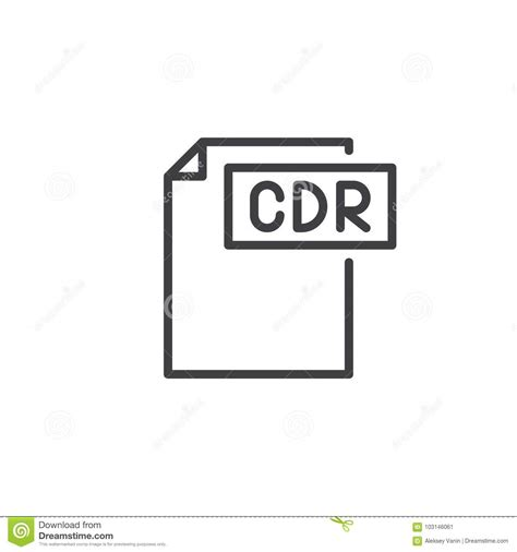 mengubah format eps ke cdr cdr format document line icon stock vector illustration
