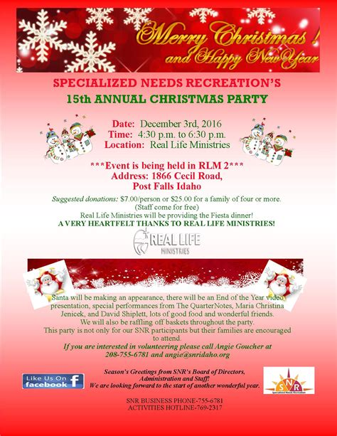 raffle ideas for chirstmas party fundraiser flyer 2016 specialized needs recreation
