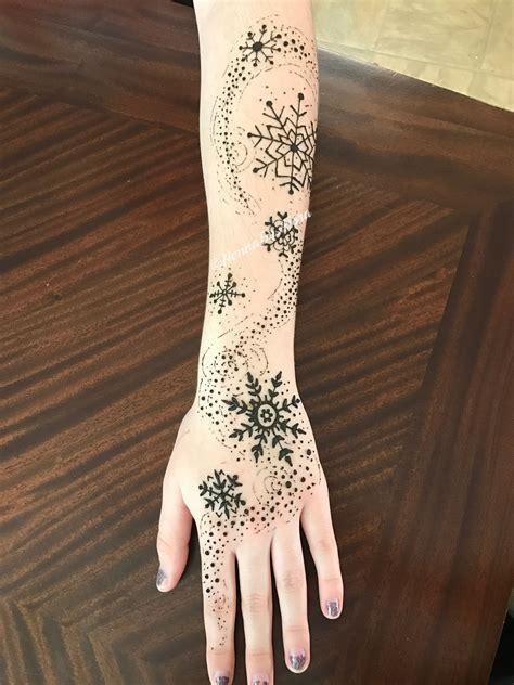 winter tattoo snowflake henna hennabyarora tattoos snow flake