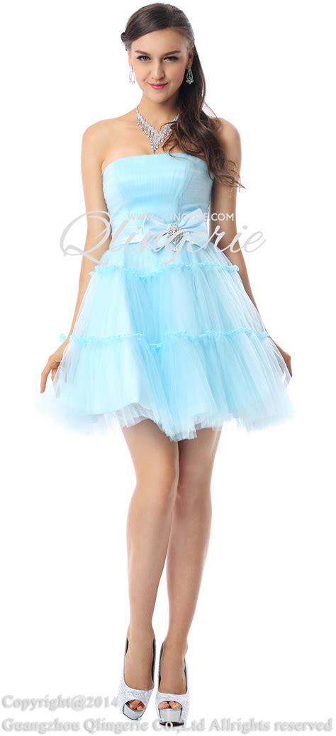 light blue bridesmaid dresses short charming a line light blue strapless mesh ruffles short