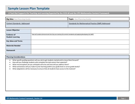 cps lesson plan template 6 sle lesson plan template bookletemplate org