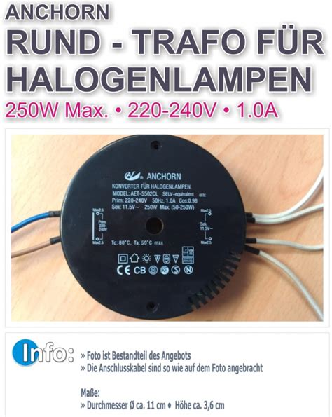 anchorn converter for halogen ls anchorn trafo aet 5502cl rund ersatztrafo transformator