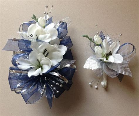 Corsage Blue Silver gallery for gt silver and blue corsage