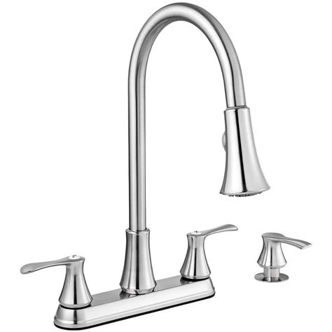 Shop Project Source Stainless Steel 2 Handle Deck Mount Pull Down Kitchen Faucet at Lowes.com