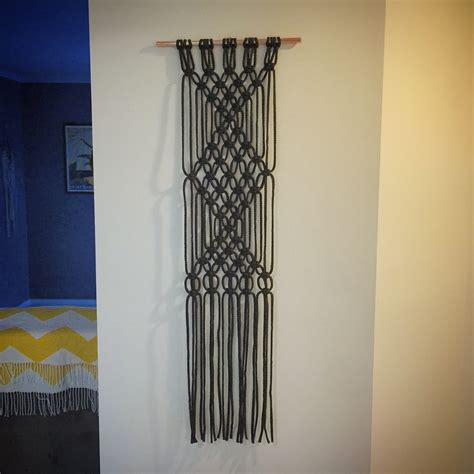 Macrame Wall Hanger - macrame wall hanging copper rod modern by neonknotdesigns