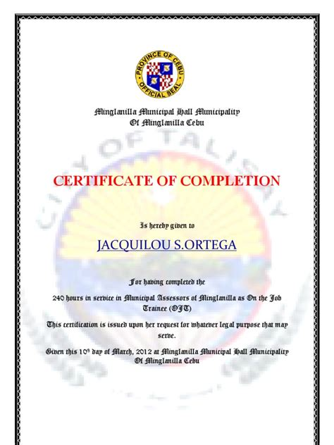 template ojt certificate of completion template graduation