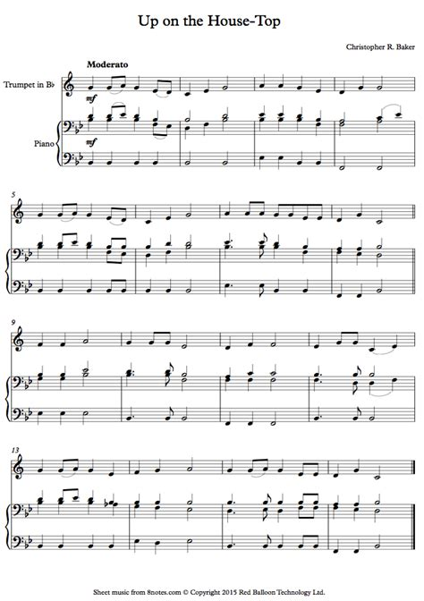 trumpet house music baker up on the house top sheet music for trumpet