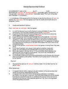 sponsorship contract template freewordtemplates net