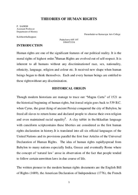 Rights Of Essay by Theories Of Human Rights Paper