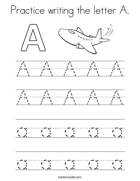 writing prompts for letter tracing draw and write practice writing the letter a coloring page twisty noodle