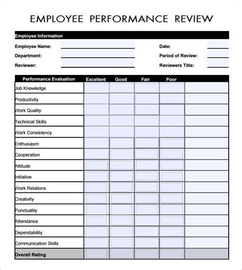 evaluation templates for employees employee evaluation form pdf employee evaluation form