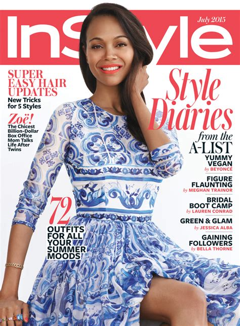 I This On In Style Magazines Site What Is In Your Bag by Zo 235 Saldana Is Instyle S July Cover Instyle