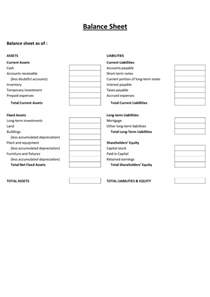 Easy Balance Sheet Template by Free Printable And Blank Balance Sheet Template Sles