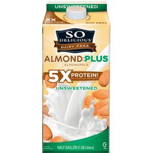 protein almond milk so delicious dairy free almond milk protein plus 1 litre