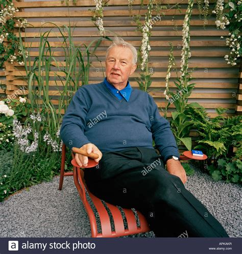 sir terence conran in part of the peace garden he designed for the stock photo royalty free
