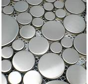 Brushed Silver Metal Mosaic SMMT024 Penny Round Metallic