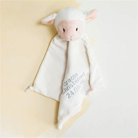 personalised comforter personalised christening lamb baby comforter by clouds and