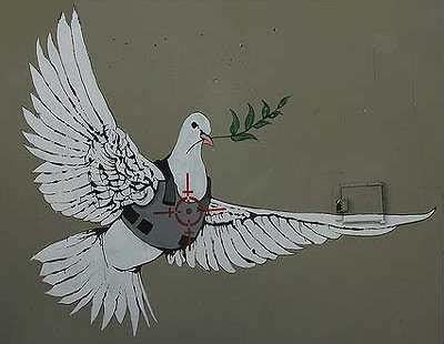 Graffiti Wall Stickers armored dove of peace banksy in palestine