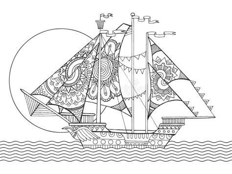 coloring book for relaxation sailing ships books sailing ship drawing coloring book vector stock vector