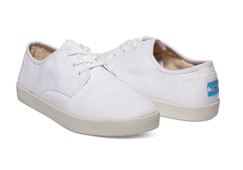 toms white canvas s paseo sneakers in white for lyst