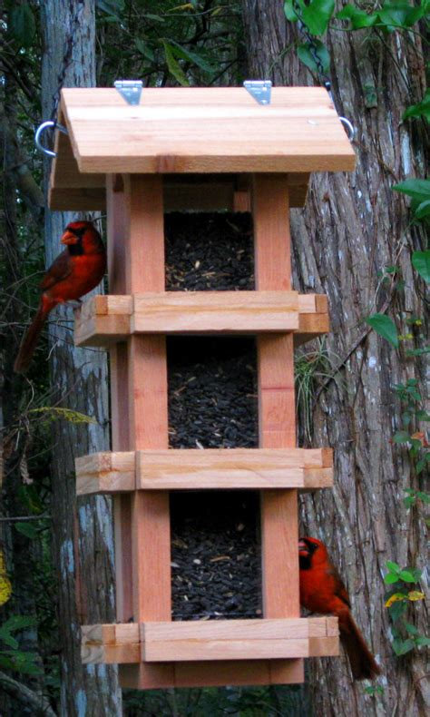 Handmade Bird Feeders - decorative cedar wood cardinal bird feeder handmade in the