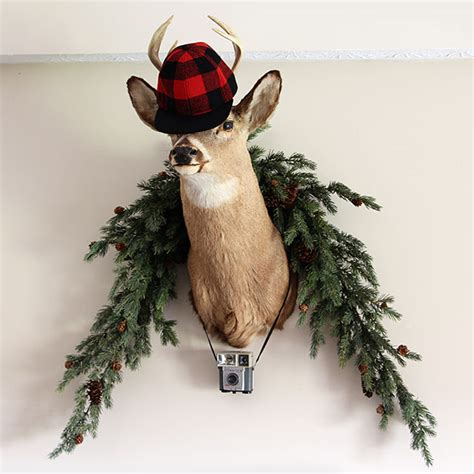 christmas decorations with deer head pic plaid decor ideas for the holidays house of hawthornes