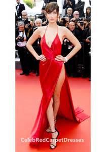 bella hadid red slit dress prom dress cannes 2016 red