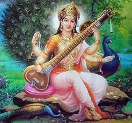 Shri saraswati plays her celestial veena alt