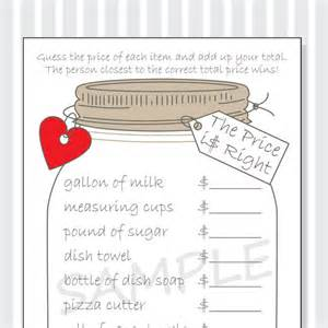 the price is right printable game cards for a bridal shower