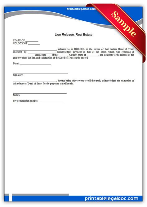 Lien Release Letter For Property Free Printable Lien Release Real Estate Form Generic