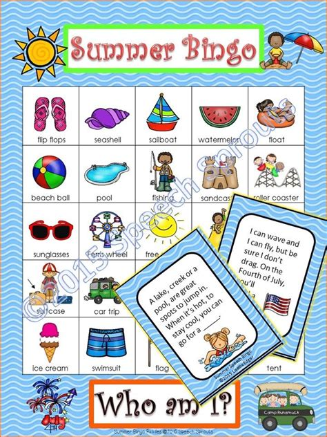 summer themed games summer bingo riddles game speech therapy or party