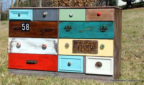 Dresser With Different Colored Drawers by The Finished Funky Dresser The Weekend Country
