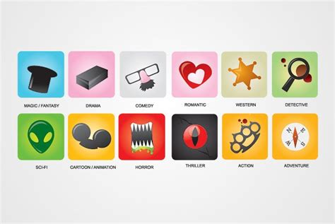 film genres movie genres vector icons free vector 365psd com