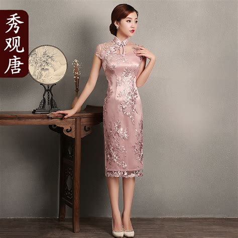 Lace Qipao superb embroidery lace qipao cheongsam dress pink
