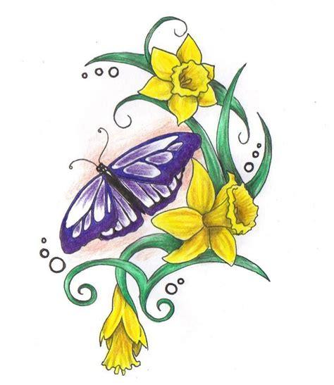 tattoo daffodil designs butterfly daffodil tattoos daffodil