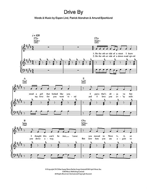 drive by chord drive by sheet music by train piano vocal guitar