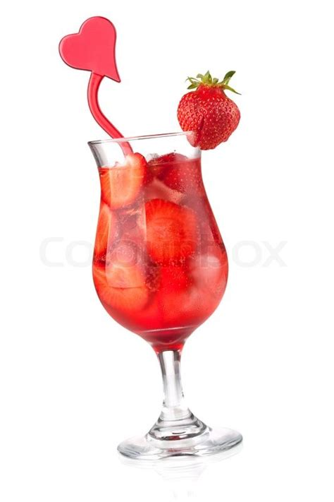 strawberry cocktail with decoration isolated on