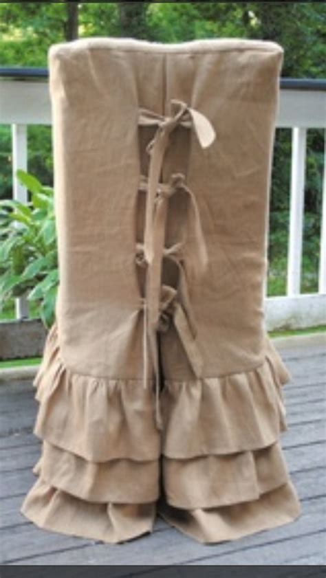 burlap slipcovers burlap parson chair cover slipcovers ruffle skirts ties