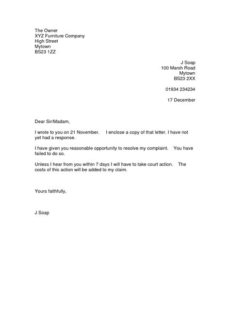 Complaint Letter Exle To Complaint Letter Template Uk Images
