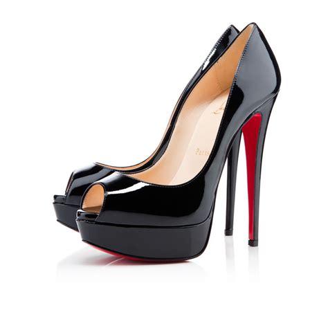 peep patent 150 black patent calfskin shoes christian louboutin