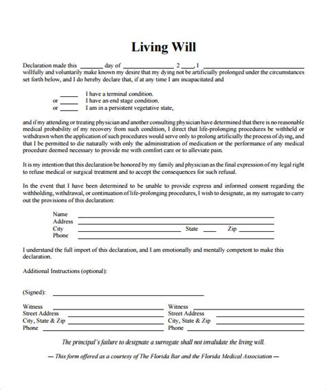 free printable living will template living will template 7 free sles exles format