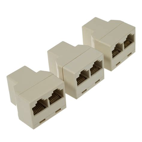 Rj45 Lan Networking Connector 3pcs rj45 cat5 network lan cable extender connector coupler ethernet lan port 1 to 2 socket