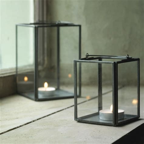 Candle Holder Glass Box Set Of 2 Glass Box Lanterns Modern Candleholders By