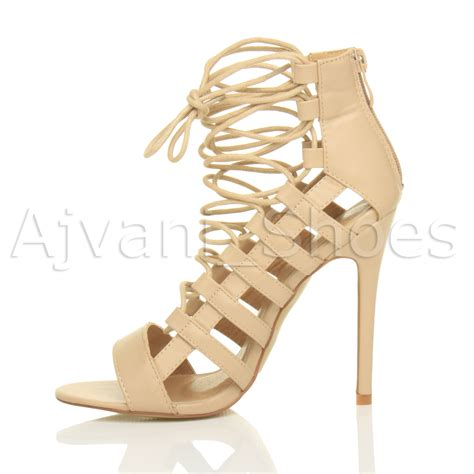 strappy lace up high heels womens high heel strappy lace up zip cut out